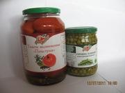 Горошек зелёный консервированный,  томаты